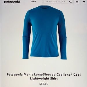 Men's Patagonia capilene crew neck shirt. M